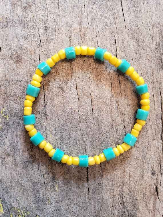 Beaded Bracelet Colorful Handmade Jewelry Elastic Cord Etsy