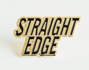 Straight Edge Lapel Pin in Black and Gold