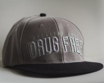 Drug Free Straight Edge Snapback Hat in Gray