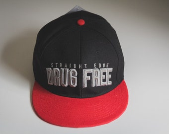 Drug Free Straight Edge Snapback Hat in Red