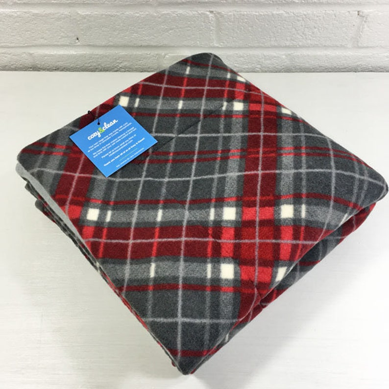 Absorbent Layer Guinea Pig Red and Grey Plaid 18x30 Fleece Cage Liner Hedgehog Piggy Blanket Cozy and Clean Rabbit