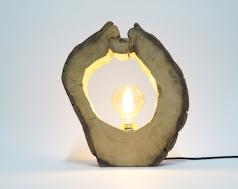 Lamp made of hardened wood, bulb included