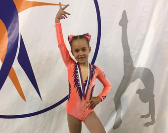 adult small 10-12a girls size Ready to ship Gymnastics leotard  Neon water colors