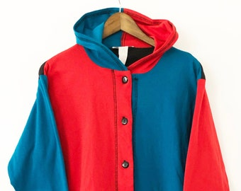 7b9b9498d7e7 Vintage 90 s Hooded Button Up Color Blocked Hoodie Hooded Long Sleeved  T-shirt Tee Blue Red Black Harley Quinn Teddy Fresh Zumiez LARGE XL