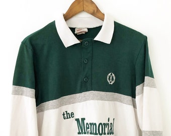 cf1ff32831f RARE Vintage 90's Hunter Forest Green Muirfield Village Dublin Ohio  Memorial Golf Tournament Long Sleeve Rugby Polo Shirt Tiger Woods MEDIUM