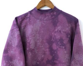 ee0508145e Custom Bleached Vintage 90 s Purple Violet Lavender Pastel College  University Crewneck Mock Neck Pullover Oversize Sweatshirt Madewell XL