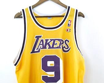 a73aced7b2be Vintage 90's Los Angeles LA Lakers Nick Van Exel Champion Logo NBA  Basketball Home Jersey #9 Magic Johnson Kareem Lebron James Kobe XL 48
