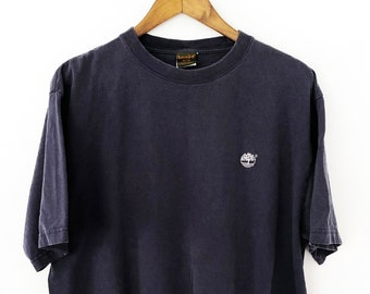 huge discount 6cbb1 98772 Vintage 90 s Embroidered Navy Blue Timberland Logo Short Sleeved Crewneck  Oversized Drop Shoulder T-Shirt Tee Tshirt Nike Adidas Fila XL