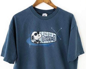 3e39556aba423e Vintage 90s Charles Schulz Peanuts Snoopy Charlie Brown Cool Daddy-O Joe  Blue Oversized T-shirt Tee Woodstock Peppermint Patty Linus Lucy XL