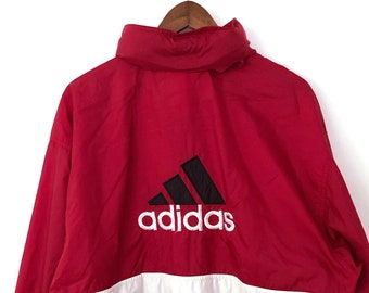 c49cb715e Double Sided Vintage 90's Dark Red Mesh Lined Full Zip Oversized Striped  Embroidered ADIDAS Logo Windbreaker Jacket Black White Nike LARGE