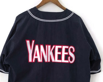 223167ea Vintage 90's Embroidered Full Zip NY New York Yankees MLB Baseball  Pinstriped Jersey T-shirt Navy Blue Red Oversized Nfl Ncaa Nba Nhl LARGE