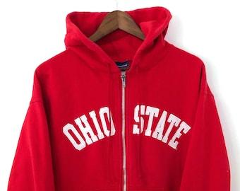 8511bc76 Vintage Red CHAMPION NCAA Ohio State University Buckeyes Embroidered Hoodie  Hooded Full Zip Up College Sports Sweatshirt Crewneck MEDIUM