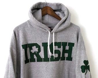1f8ac599f61d Soft Vintage Heather Gray Green Embroidered CHAMPION NCAA Notre Dame  University Fighting Irish Hooded Hoodie Sweatshirt College Crewneck XL