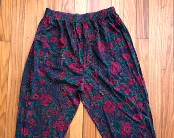 56c34088721f8 Floral 80s pants | Etsy