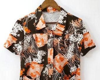 70/'s Orange Flower Butterfly Print Polyester Blouse ML