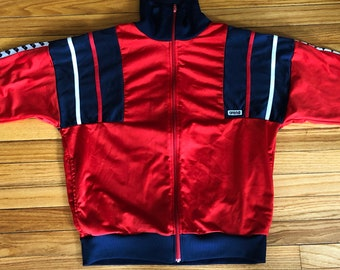 91db2f02f RARE 80's Vintage Arena Warm Up Zipper Track Jacket Sweater Sweatshirt  Jumper Red White Blue Umbro Kappa Adidas Nike Reebok Hypebeast Large