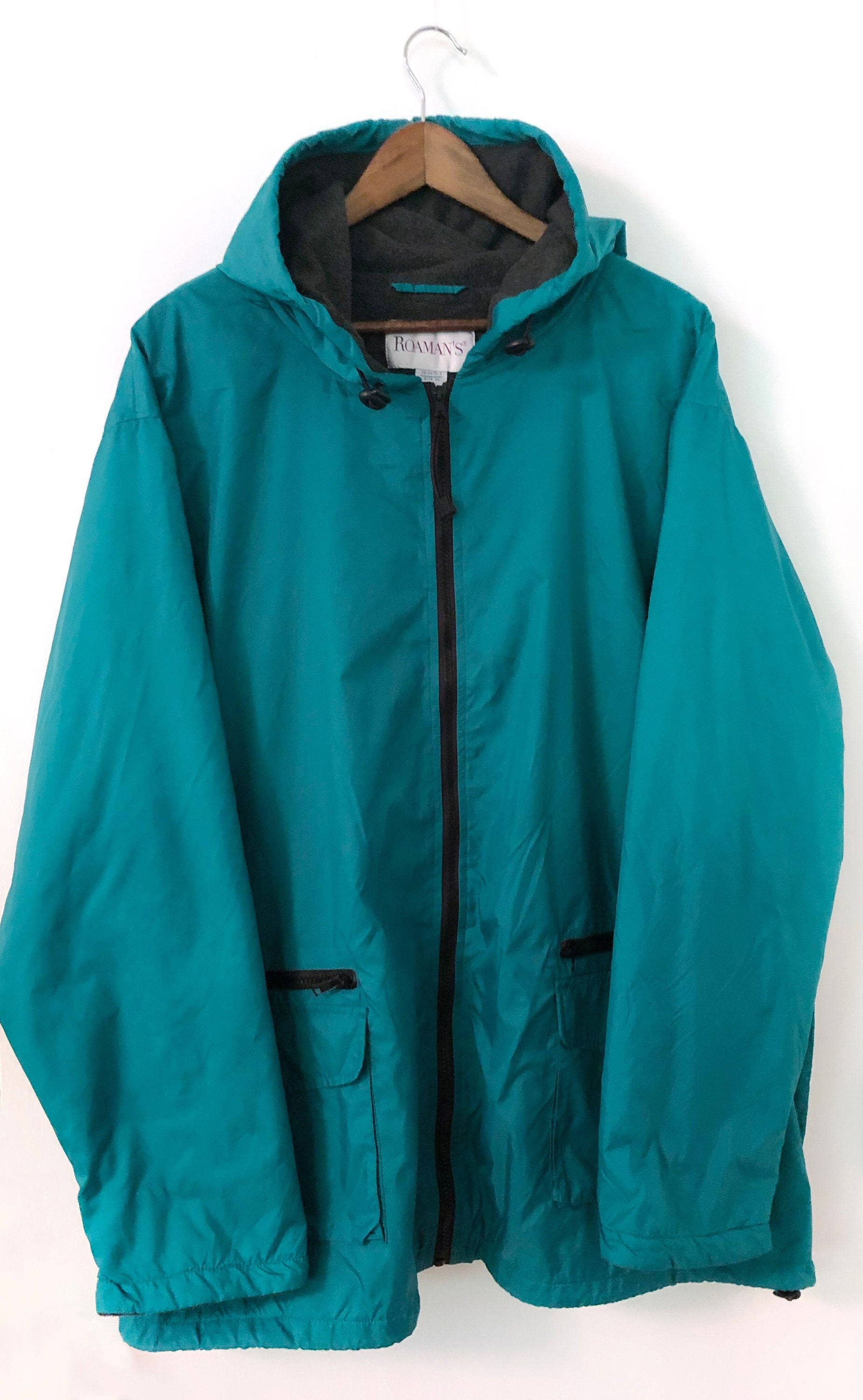 4e9a27dd71697 Vintage 90's Teal Turquoise Aqua Hooded Oversized Loose Baggy Full Zip  Polar Fleece Lined Nylon Windbreaker Jacket Patagonia REI Retro 3XL