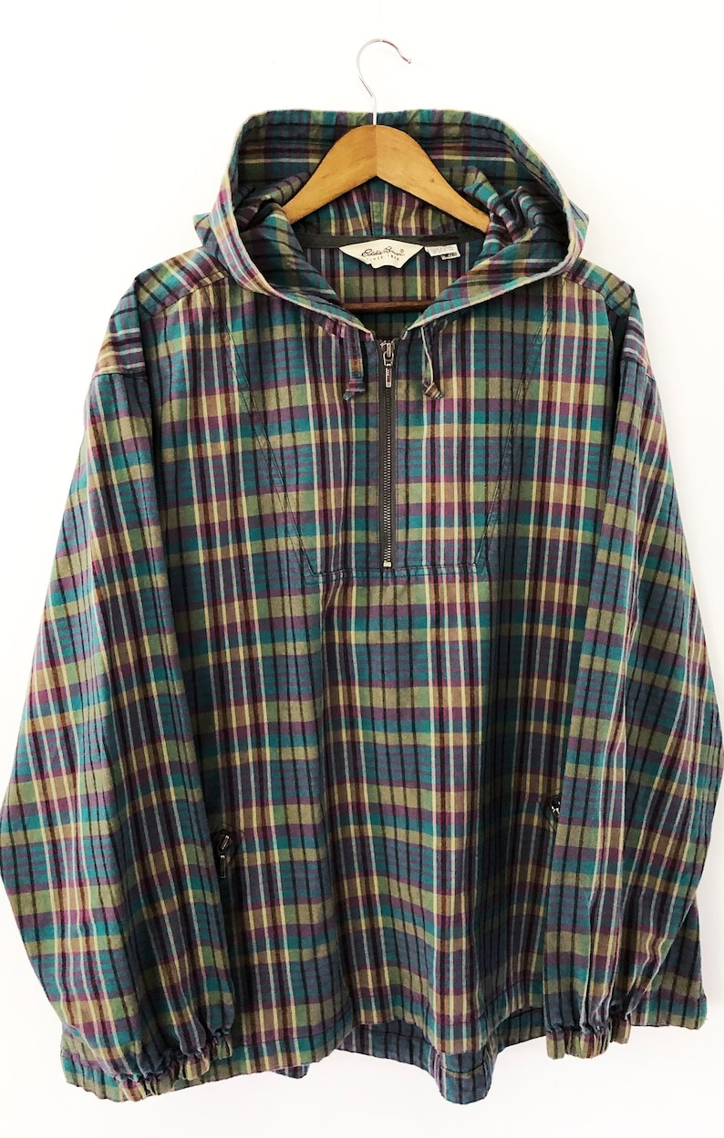 cfbda5291c75d Vintage Womens 90's Plaid Eddie Bauer Half Zip Drug Rug Oversized Long  Sleeved Jacket Teddy Fresh Green Purple Teal Turquoise XL XXL 2XL