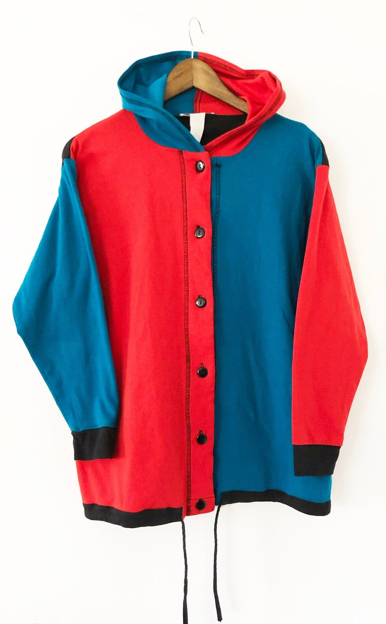 c7b5fdce434 Vintage 90's Hooded Button Up Color Blocked Hoodie Hooded Long Sleeved  T-shirt Tee Blue Red Black Harley Quinn Teddy Fresh Zumiez LARGE XL