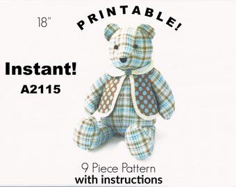 image about Free Teddy Bear Patterns Printable called Behavior undertake Etsy
