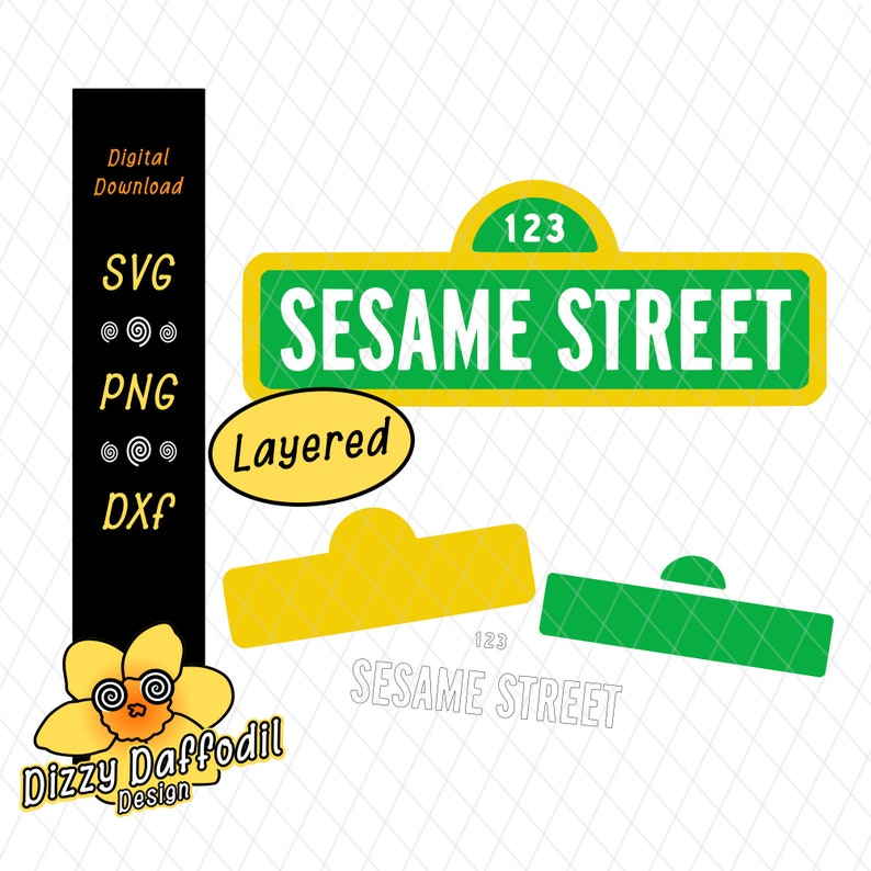 image relating to Printable Sesame Street Sign identify Sesame Road Indication SVG DXF Sesame Road Signal report for birthday card, for birthday invitation, decal, printable