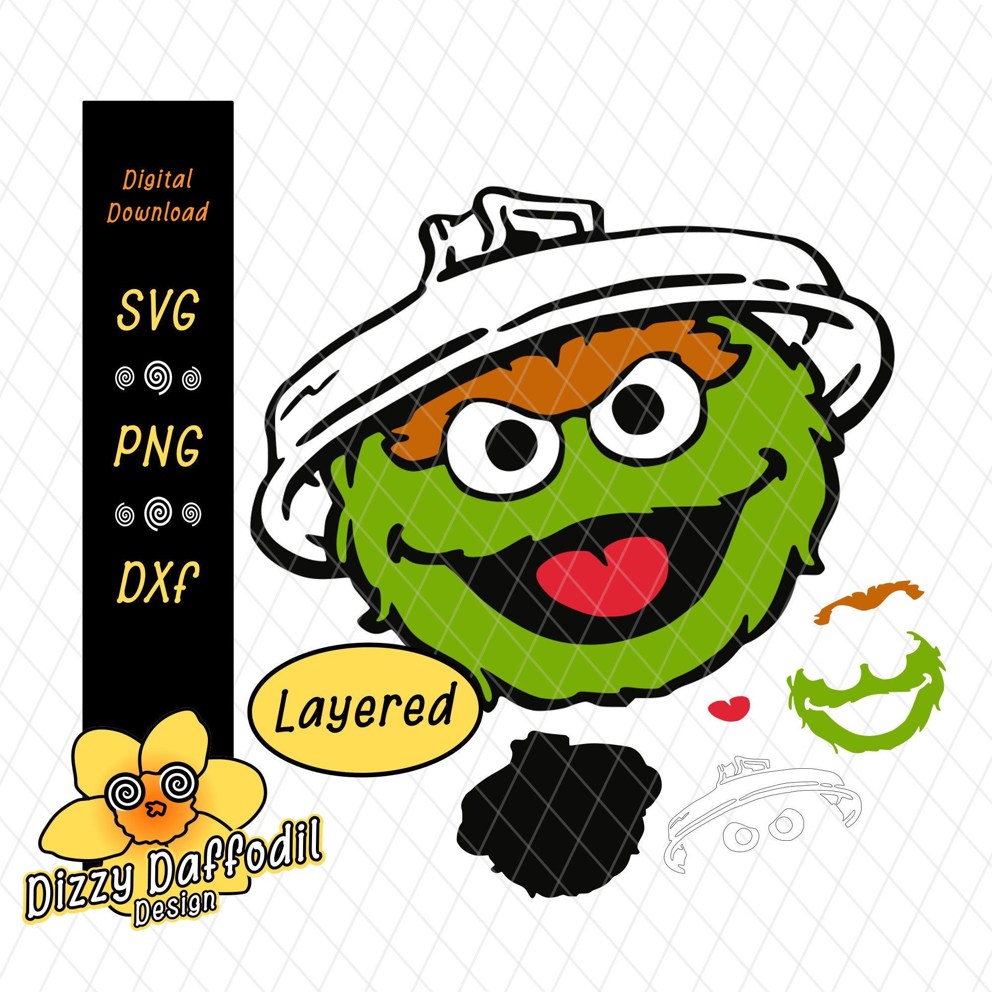 Oscar The Grouch Face Head Svg Dxf Sesame Street Digital Download For Birthday Card Or Birthday Invitation