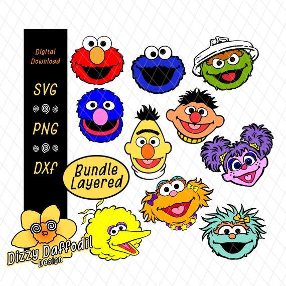 Sesame Street Face Head Bundle Svg Dxf Sesame Street Layered Design Digital Download Elmo Cookie Monster Abby Cadabby Rosita Big Bird Zoe