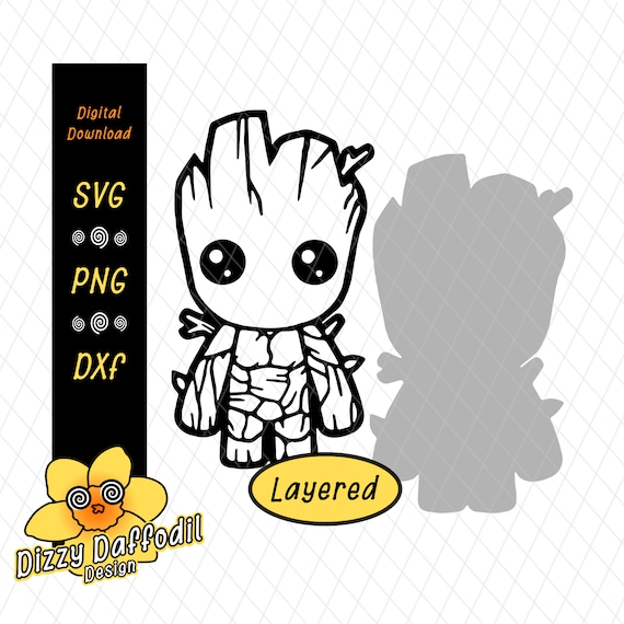Baby Groot Layered Shadow Background Svg Dxf Png Etsy