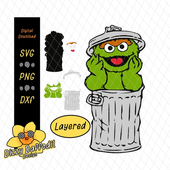 Oscar The Grouch Full Body In Trash Can Layered Svg Dxf Sesame Street Digital Download Elmo Cookie Monster Abby Cadabby Rosita Big Bird Zoe