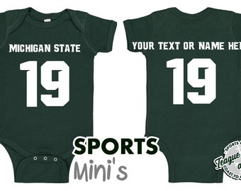 04392a8bc Michigan State | Spartans | Romper | Football | Jersey | Player | Custom |  Number | Name | Body Suit | Bodysuit