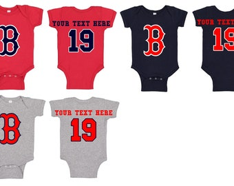 5e834441 Boston   Red Sox   Romper   Baseball   Infant   Newborn   Baby   Jersey    Player   Custom   Number   Name   Fenway   Boston B on Front
