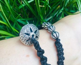 silver Anklets gift body jewelery beads black hemp thread summer boho macrame friendship festival set of 2
