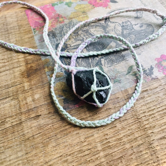 Handmade hemp choker with Tourmaline Pendant