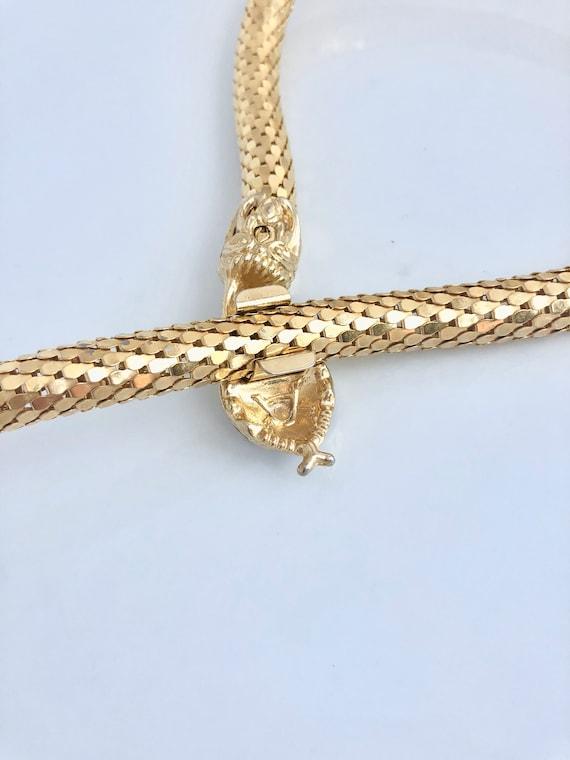 Vintage snake choker, snake mesh necklace, retro … - image 7