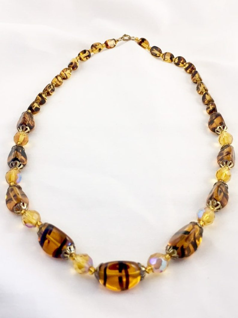 glass bead necklace vintage glass bead Venetian glass beads vintage amber jewellery faux Amber tiger stripe Amber glass bead necklace