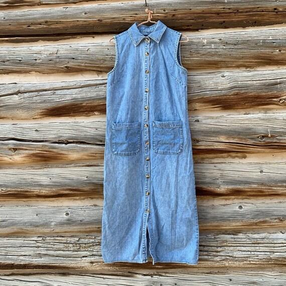Vintage Gloria Vanderbilt Denim Shirt Dress Small