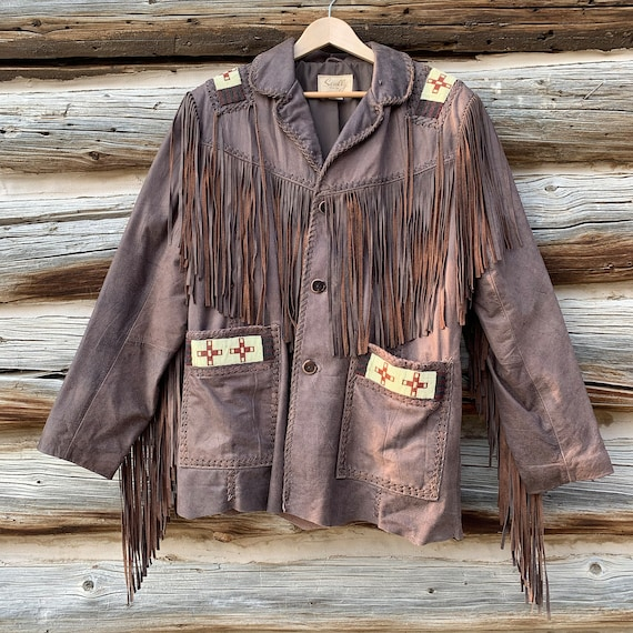 Vintage Scully Brown Leather Fringed Beaded Wester