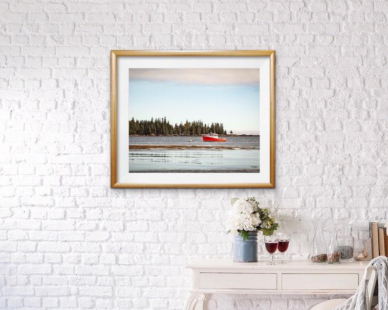 Coastal Maine Lobster Fishing Boat Photo Baby Blue Sky Print New England Atlantic Ocean Red Boat Dining Room Wall Art  Daystar at Owls Head