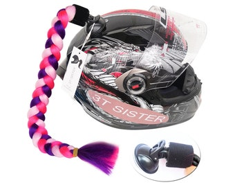 Helmet Pigtails Ponytail Braids Hair for Motorcycle 2 Together 24in Ombre PURPLE