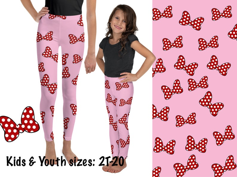Pink Kids Leggings Minnie Bows Mouse Pants Cosplay Toddler Children Red Polka Dot Baby Pink Tights Disneybound Birthday Party Costume Outfit