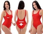 Lifeguard Rescue Red Swimsuit Women Cosplay Swimwear Pamela Baywatch Rescuer Pool Beach Bathing Gift Swim Clothes Fun Spandex Wear Party