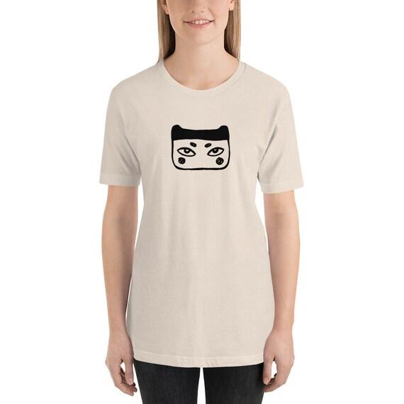 ad8c3a4863b82 Japanese face print unisex t-shirt, Modern print shirts, Graphic Tees, Line  art, Line Drawing