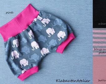 Pumphose kurz Elefanten Mädchen Handmade Jersey Gr 56//62,68//74,80//86//92,98//104
