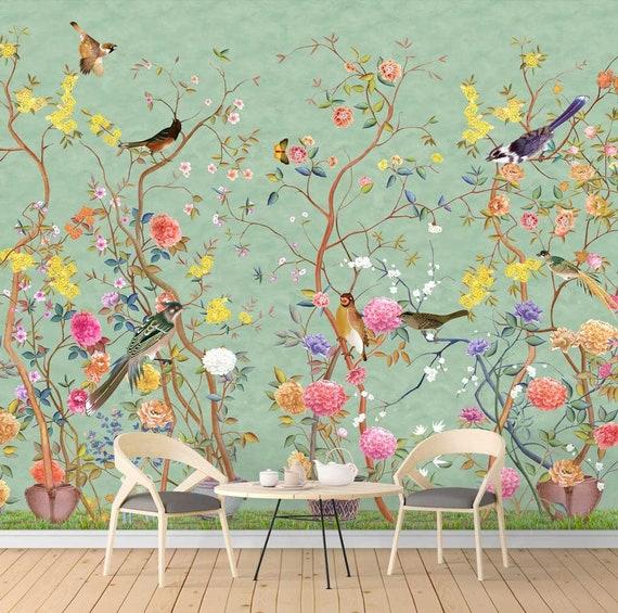 Nauzha Chinoiserie Wallpaper Vintage Bird Wallpaper Etsy