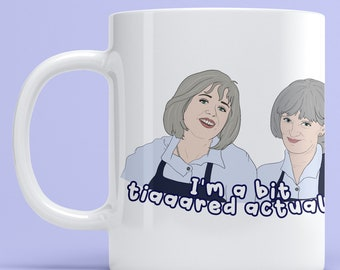 """Prue and Trude, Kath and Kim """"I'm a Bit Tired Actually"""" grayshsh 11oz Mug, drinkware mugs fan art Aussie comedy television tv show"""