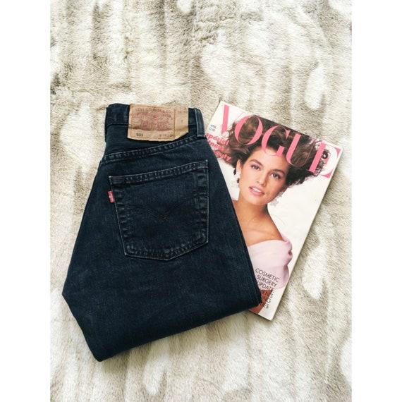 W24 Vintage Levi's 501 Jeans Blue Black Denim