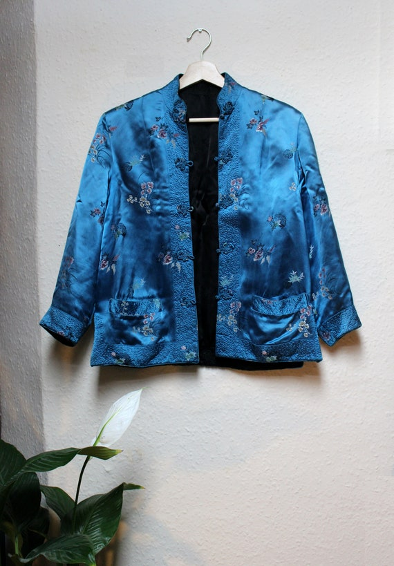 50s Chinese Reversible Blue Black Blossom Silk Man