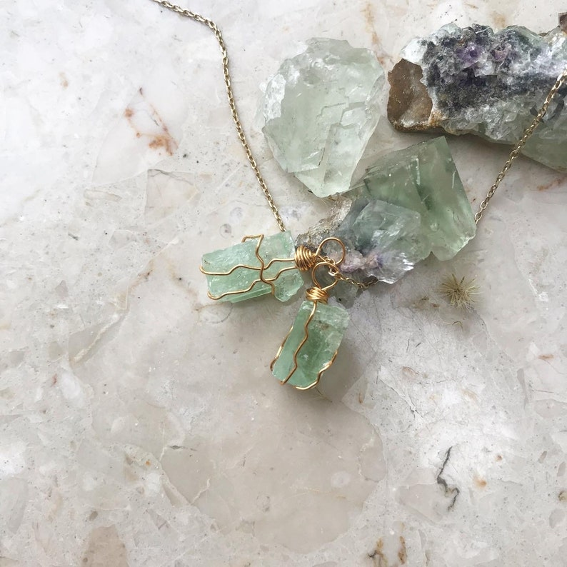 Necklace with raw green calcite stone