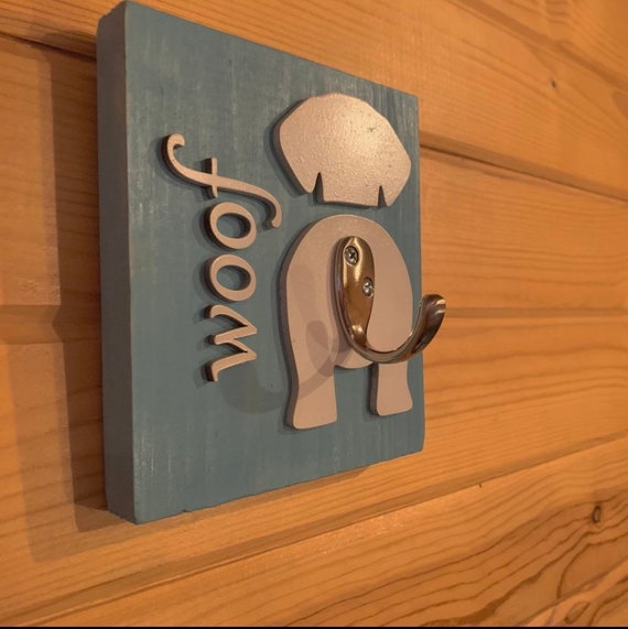 Dog Leash Sign With Hook  Can Be Personalized