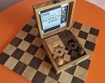 Handmade wood Bauhaus chess set. Oak&maple wood.